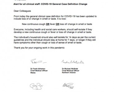 Statement from the UK Chief Medical Officers on an update to coronavirus symptoms: 18 May 2020